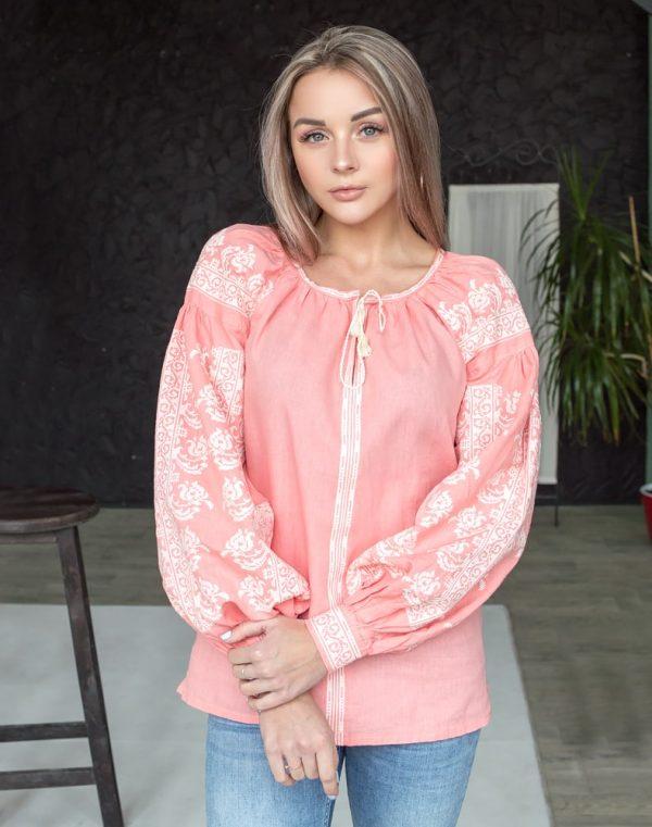 """Вышиванка женская """"Лилея"""" лен розовый"""