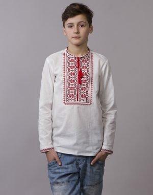 """Вышиванка для мальчиков """"Зірочка"""" ДР хлопок 146-164 белый"""