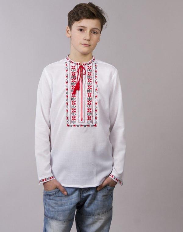 """Вышиванка для мальчиков """"Алатир"""" ДР хлопок 098-116 белый"""