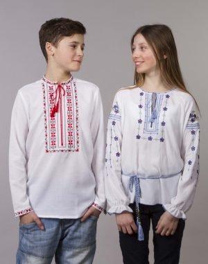 """Вышиванка для мальчиков """"Алатир"""" ДР хлопок 122-140 белый"""