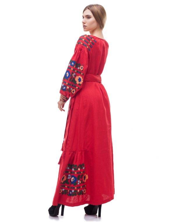 """Платье """"Борщівські барви"""" лен Д-88-4 длина красный"""
