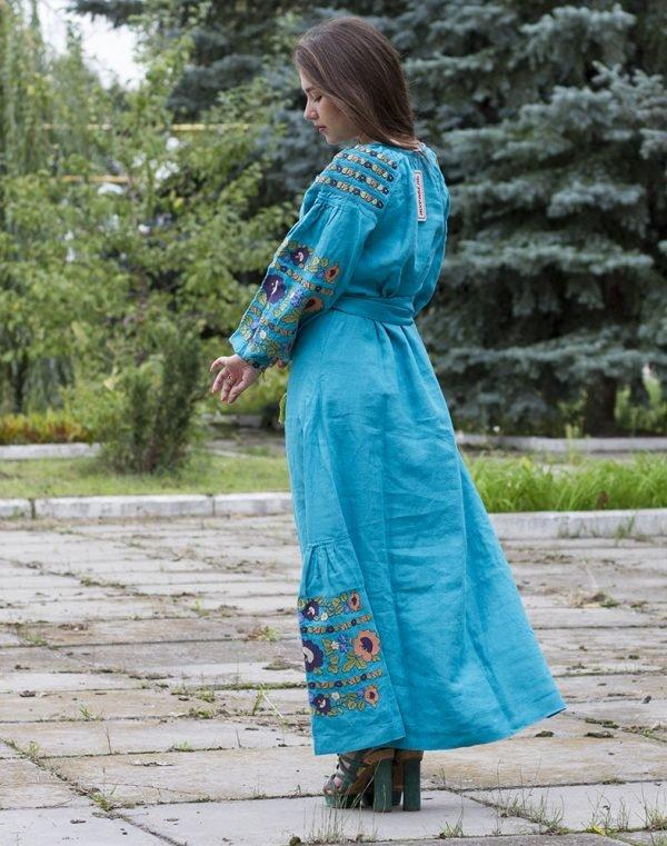 """Платье """"Борщівські барви"""" лен Д-88-4 длина бирюзовый"""