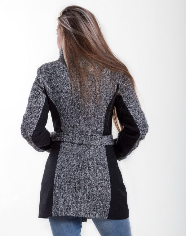 Женское пальто К-175 твид черно-сер