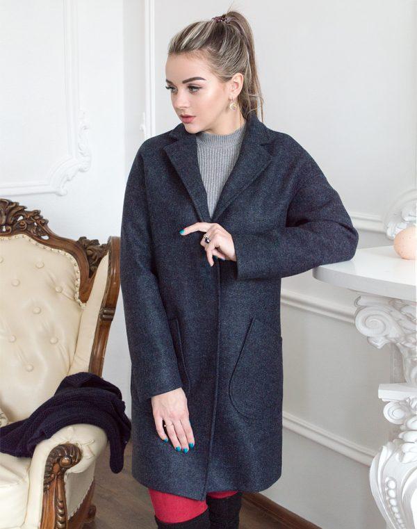 Женское пальто В-114 Кашемир Феникс темно-синий