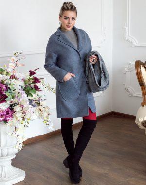 Женское пальто В-114 Кашемир Феникс серо-голубой