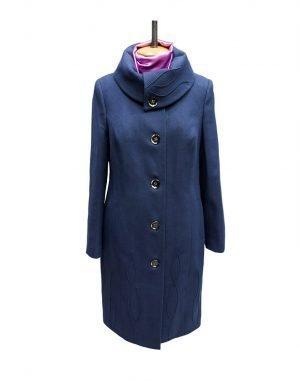 К-77 Пальто женское кашемир утепленное синий