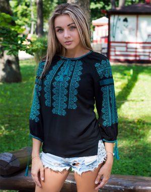 """Вышиванка женская """"Вечiрнi зорi"""" поплин черный"""