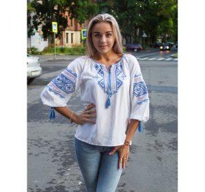 """Вышиванка женская """"Традицiя"""" поплин белый"""