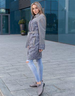 Женское пальто В-117 кашемир Барса черно-серый