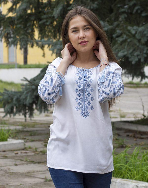 """Вышиванка женская """"Колоскова""""  поплин белый"""