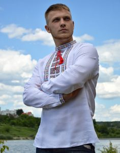 Вышиванка мужская «Американець » белый