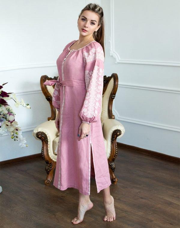 """Платье """"Лілея"""" лен розовый"""