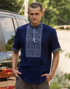 Вышиванка мужская «Волопас» лен синий темный, синий