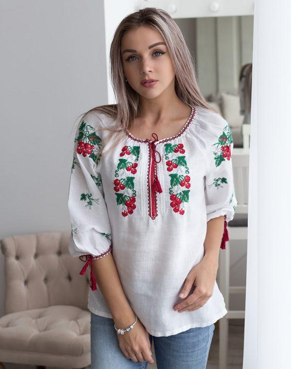 """Вышиванка женская """"Калина"""" лен белый"""
