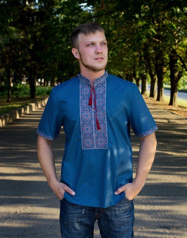 """Вышиванка мужская """"Віктор"""" батист синій (бордо/сірий)"""