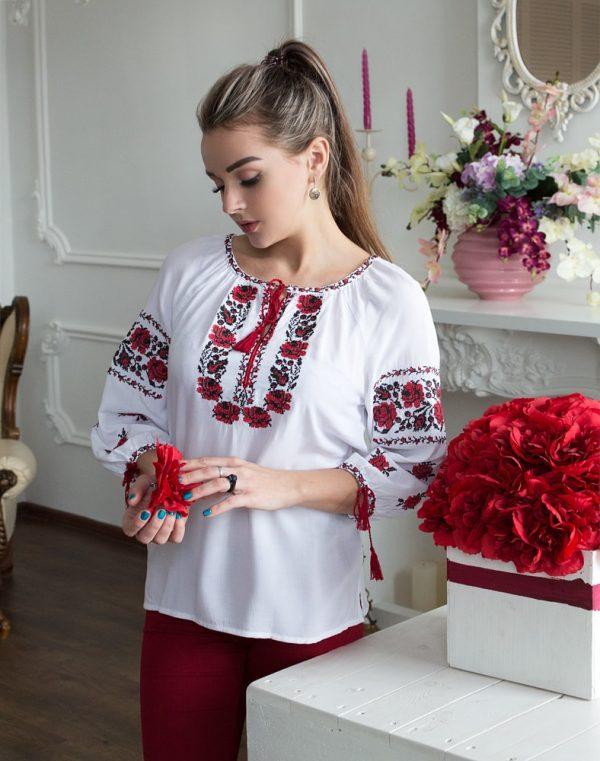 """Вышиванка женская """"Троянда"""" поплин белый"""