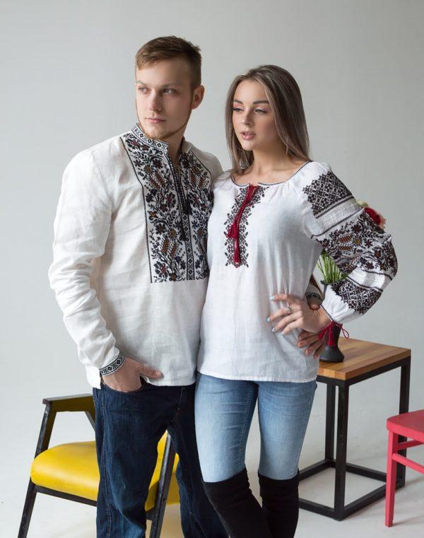 "Вышиванка женская ""Дружина Хлібороба"" лен белый"