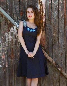 Сарафан «Сузiр'я» лен темный синий