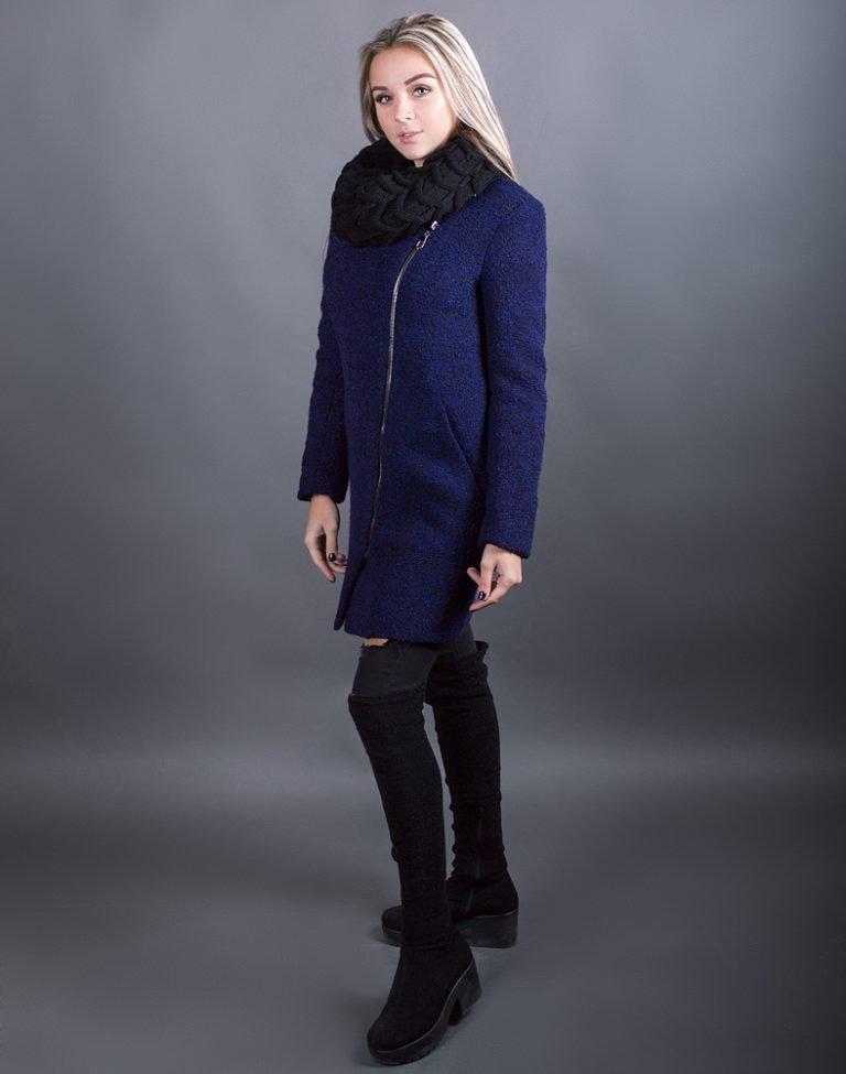 В-120 Пальто Букле утепленное черн/синий