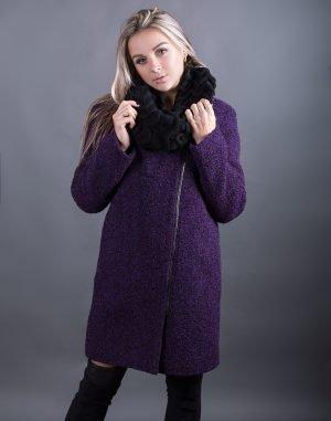 Женское пальто В-120 Букле утепленное черный/фуксия