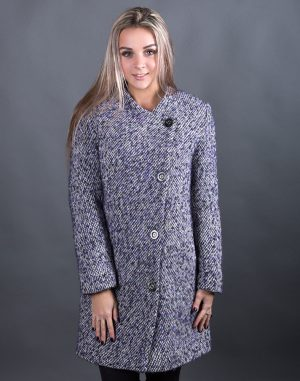 Женское пальто В-120 Букле утепленное сиреневый